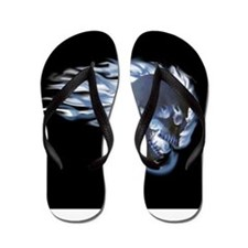 Blue Flaming Skull Flip Flops