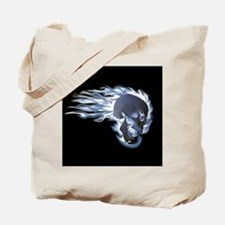 Blue Flaming Skull Tote Bag