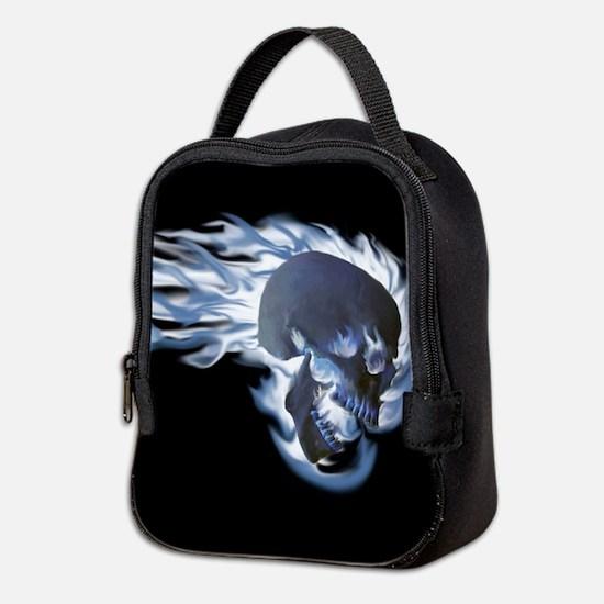 Blue Flaming Skull Neoprene Lunch Bag