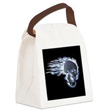 Blue Flaming Skull Canvas Lunch Bag