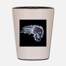 Blue Flaming Skull Shot Glass