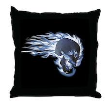 Blue Flaming Skull Throw Pillow