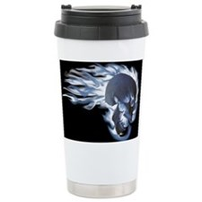 Blue Flaming Skull Travel Mug