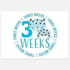 Cute Blue Tiger 3 Weeks Old Invitations