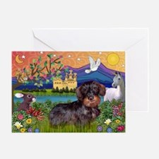 Fantasy / Wire Haired Dachshund Greeting Card