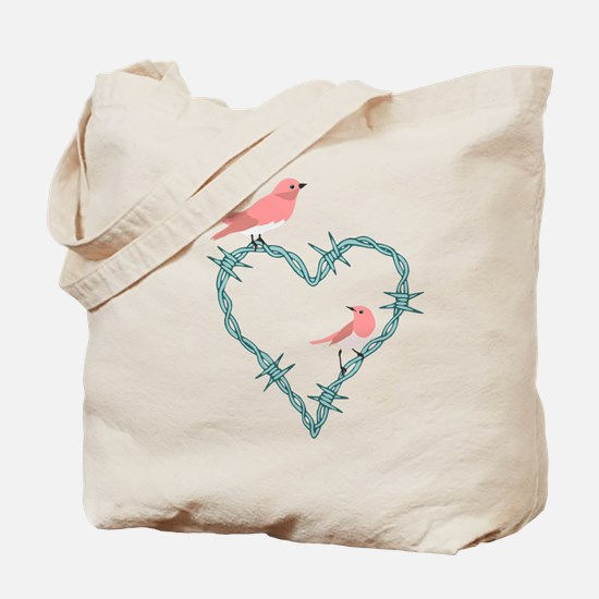 Barbed Wire Heart Birds Tote Bag