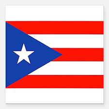 """Puerto Rican Boricua Fla Square Car Magnet 3"""" x 3"""""""