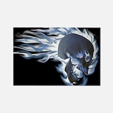 Blue Flaming Skull Magnets