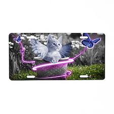 angel cat Aluminum License Plate