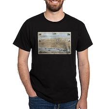 Vintage Pictorial Map of Galveston (1871) T-Shirt
