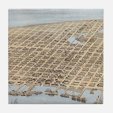 Vintage Pictorial Map of Galveston (1 Tile Coaster
