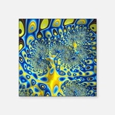 "Blue Yellow Abstract Fracta Square Sticker 3"" x 3"""