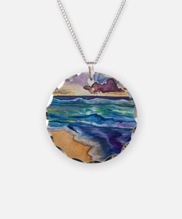 Beach Sunset Watercolor  Necklace