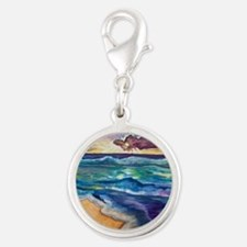 Beach Sunset Watercolor  Silver Round Charm