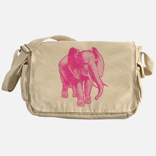 Pink Elephant Illustration Messenger Bag