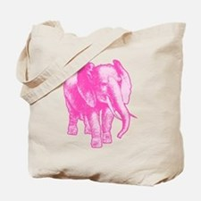 Pink Elephant Illustration Tote Bag