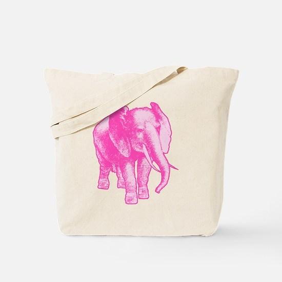 Pink Elephant Illustration Tote Bag