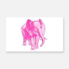 Pink Elephant Illustration Rectangle Car Magnet