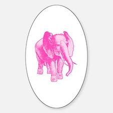 Pink Elephant Illustration Sticker (Oval)