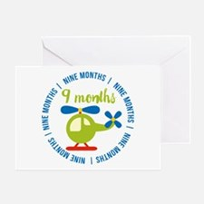 9 Months Helicopter Monthly Mileston Greeting Card