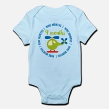 9 Months Helicopter Monthly Milest Infant Bodysuit