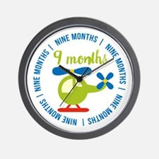 9 Months Helicopter Monthly Milestone Wall Clock