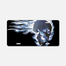 Blue Flaming Skull Aluminum License Plate