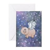 Flying pig Greeting Cards