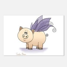 Funny Pigs with wings Postcards (Package of 8)