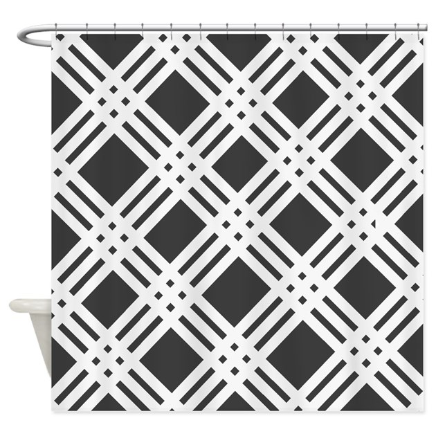Charcoal Grey Plaid Shower Curtain by stripstrapstriped