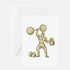 Strongman Lifting Barbell Kettlebell Etching Greet