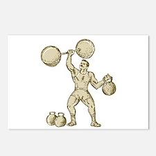 Strongman Lifting Barbell Kettlebell Etching Postc