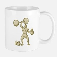 Strongman Lifting Barbell Kettlebell Etching Mugs
