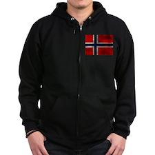 Grunge Norwegian Flag Zip Hoodie