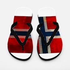 Grunge Norwegian Flag Flip Flops