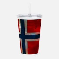 Grunge Norwegian Flag Acrylic Double-wall Tumbler