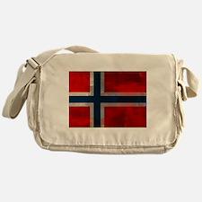 Grunge Norwegian Flag Messenger Bag