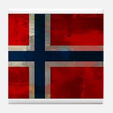 Grunge Norwegian Flag Tile Coaster