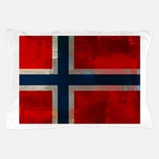 Grunge Norwegian Flag Pillow Case