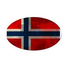 Grunge Norwegian Flag Oval Car Magnet