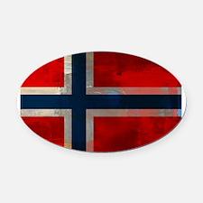 Grunge Norwegian Flag Oval Car Magnet