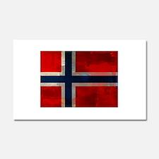 Grunge Norwegian Flag Car Magnet 20 x 12