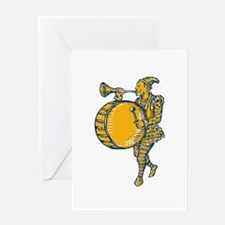 Clown With Trumpet and Drum Marching Etching Greet