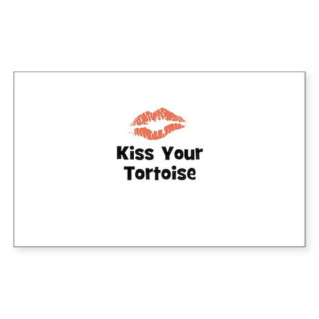 Kiss Your Tortoise Rectangle Sticker