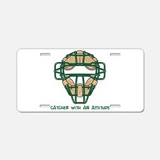 Catcher with an Attitude Aluminum License Plate