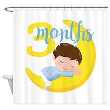 3 Months Baby Boy Monthly Milestone Shower Curtain