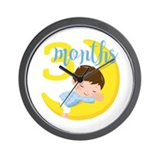 3 Months Baby Boy Monthly Milestone Wall Clock