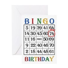 74th birthday Bingo card Greeting Cards