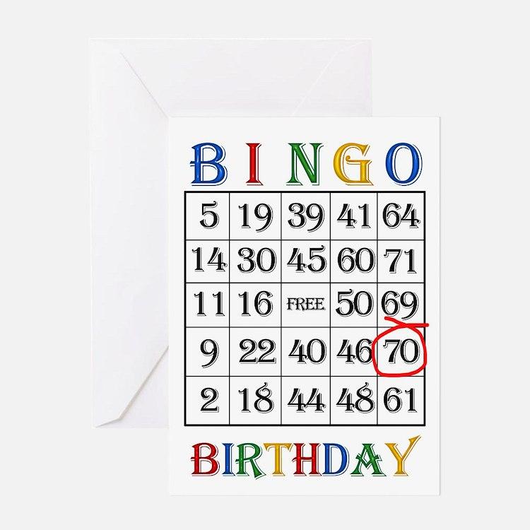 70th birthday Bingo card Greeting Cards