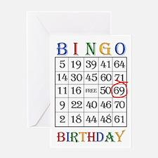 69th birthday Bingo card Greeting Cards